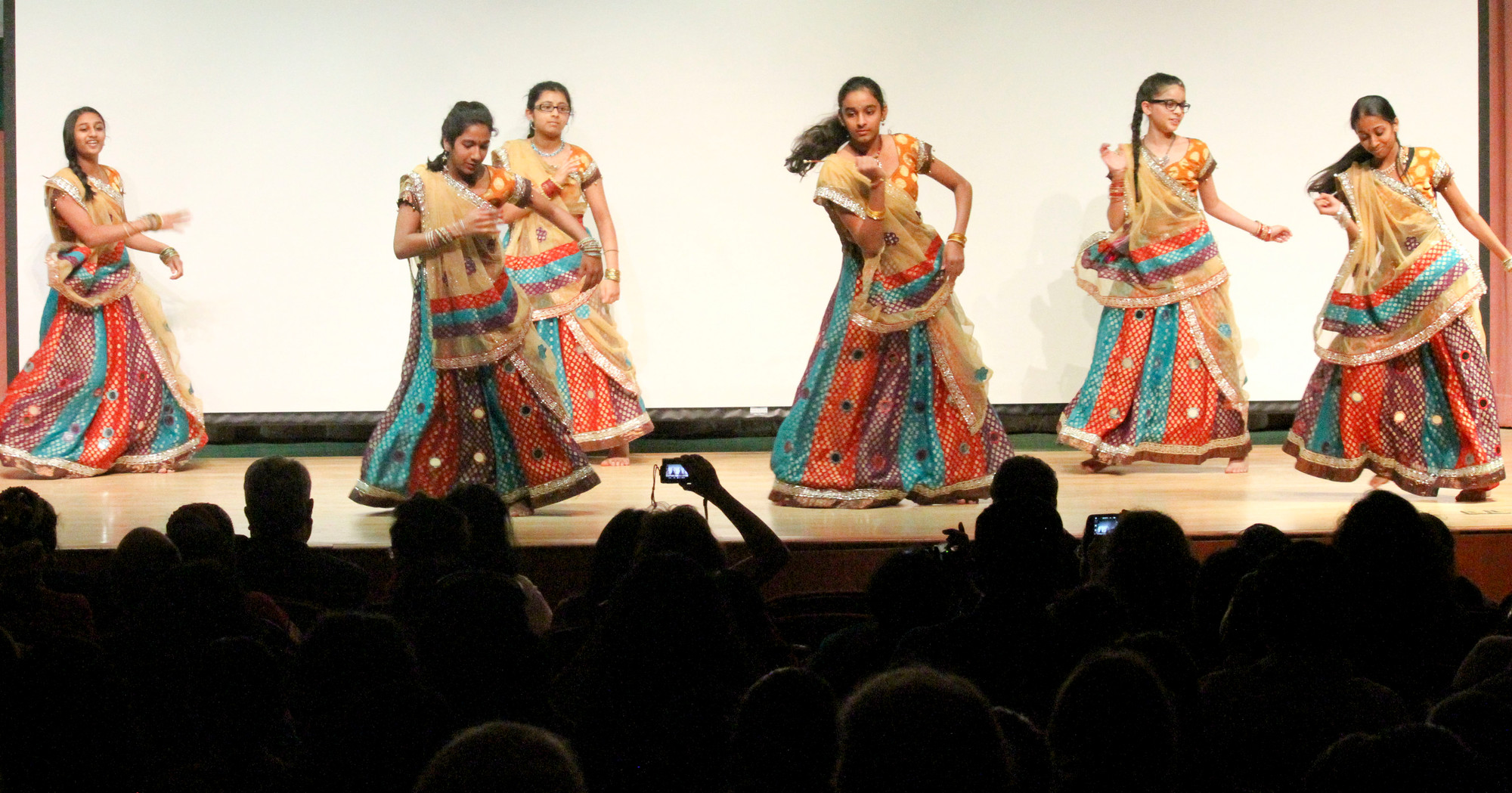 Kangna Medley, a traditional Indian dance, was performed at the children's day celebration. From left were Haley Patel, Shree Patel, Pooja Shah, Shainee Islam, Bharvi Chayre and Shivali Sinha