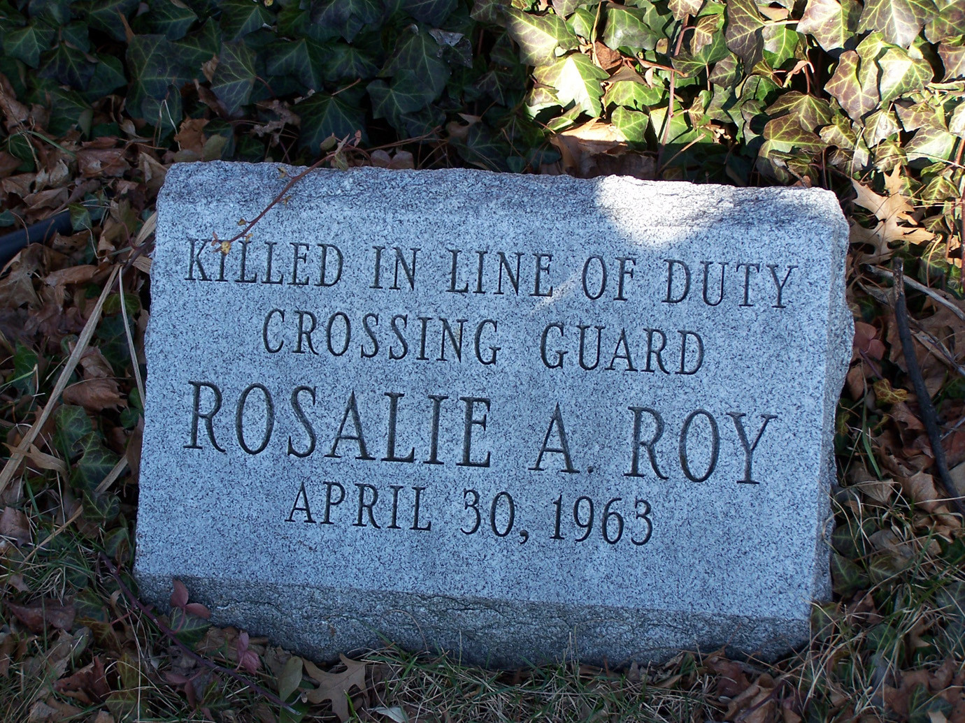 A separate stone honoring Roy is located on the lawn in front of the apartments at 60 Hempstead Avenue at the corner of Peninsula Boulevard, where she died performing her duties.   mance of her duties.