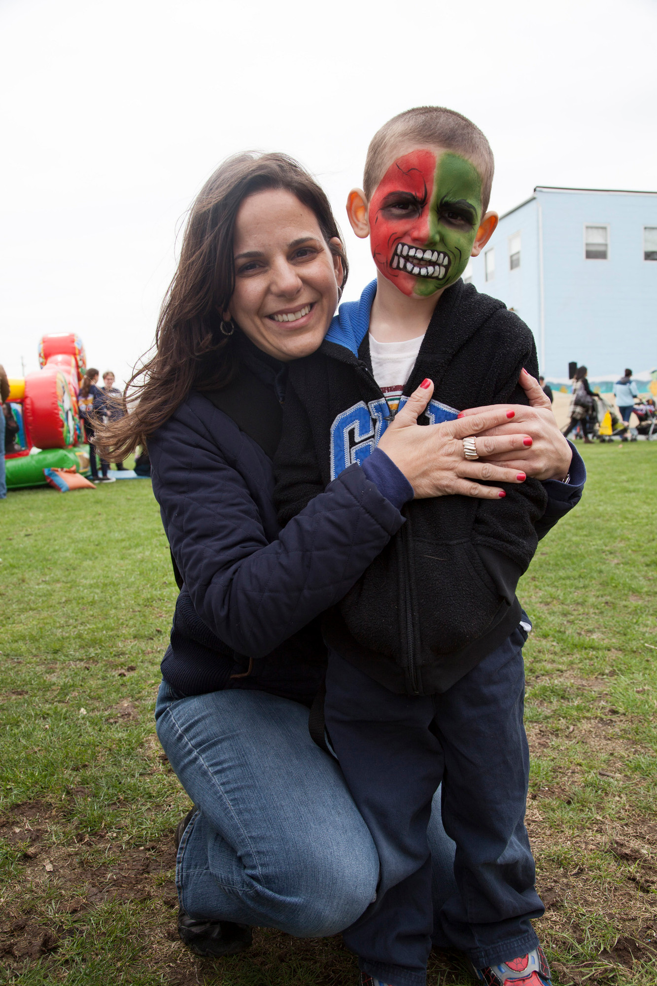Dana Randazzo hugged her cute (and scary) son, Jack, 4, after he had his face painted.
