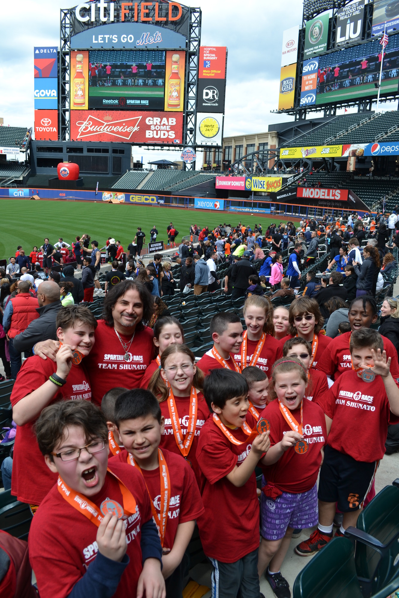 A group of 16 Baldwin karate students used their legs for more than kicking last week. The energetic youngsters ran a 1-mile obstacle course that snaked through CitiField, home of the Mets, and included the playing surface and other areas normally off-limits to non-players.
