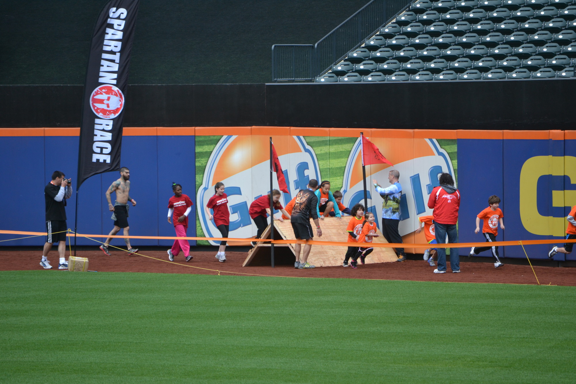 "Students from Baldwin's Shunato Karate ran a one-mile ""Spartan"" race at CitiField on April 13."
