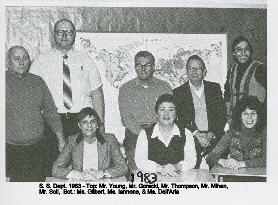 The 1983 Baldwin Middle School social studies department. From top left are Mr. Young, Mr. Gorecki, Mr. Thompson and Mr. Milhan. In the second row are Mr. Soll, Rhoda Gilbert, Mrs. Iannone and Mrs. Dell'Aria.