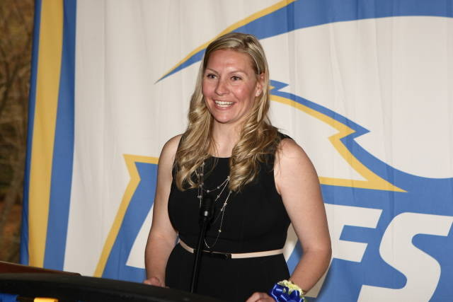 BMS physical education teacher Kathleen Durnin spoke during her induction into the Hofstra Athletics Hall of Fame.