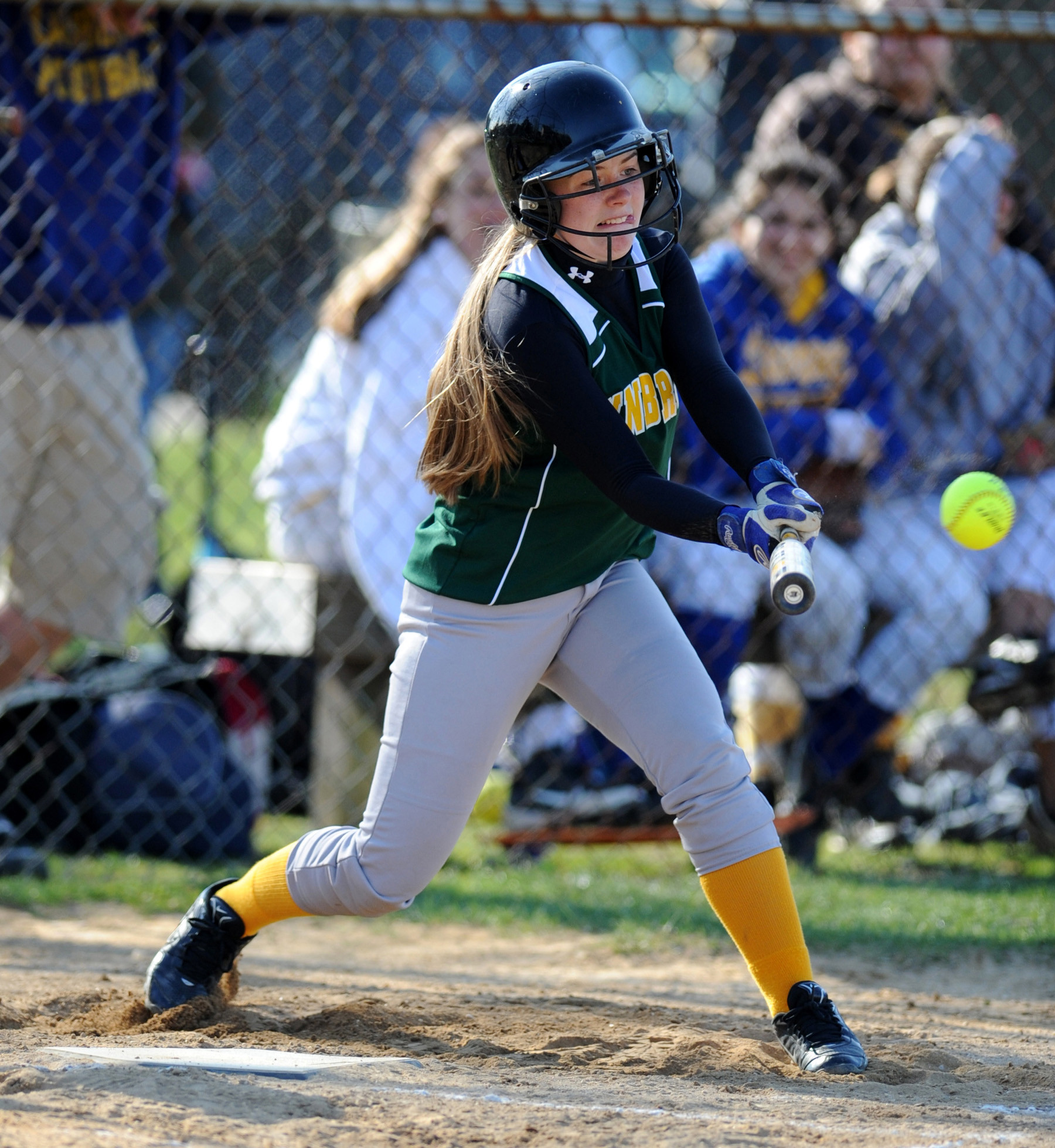Junior Meghan Montine rips a line drive during Lynbrook's win over Lawrence on April 15.