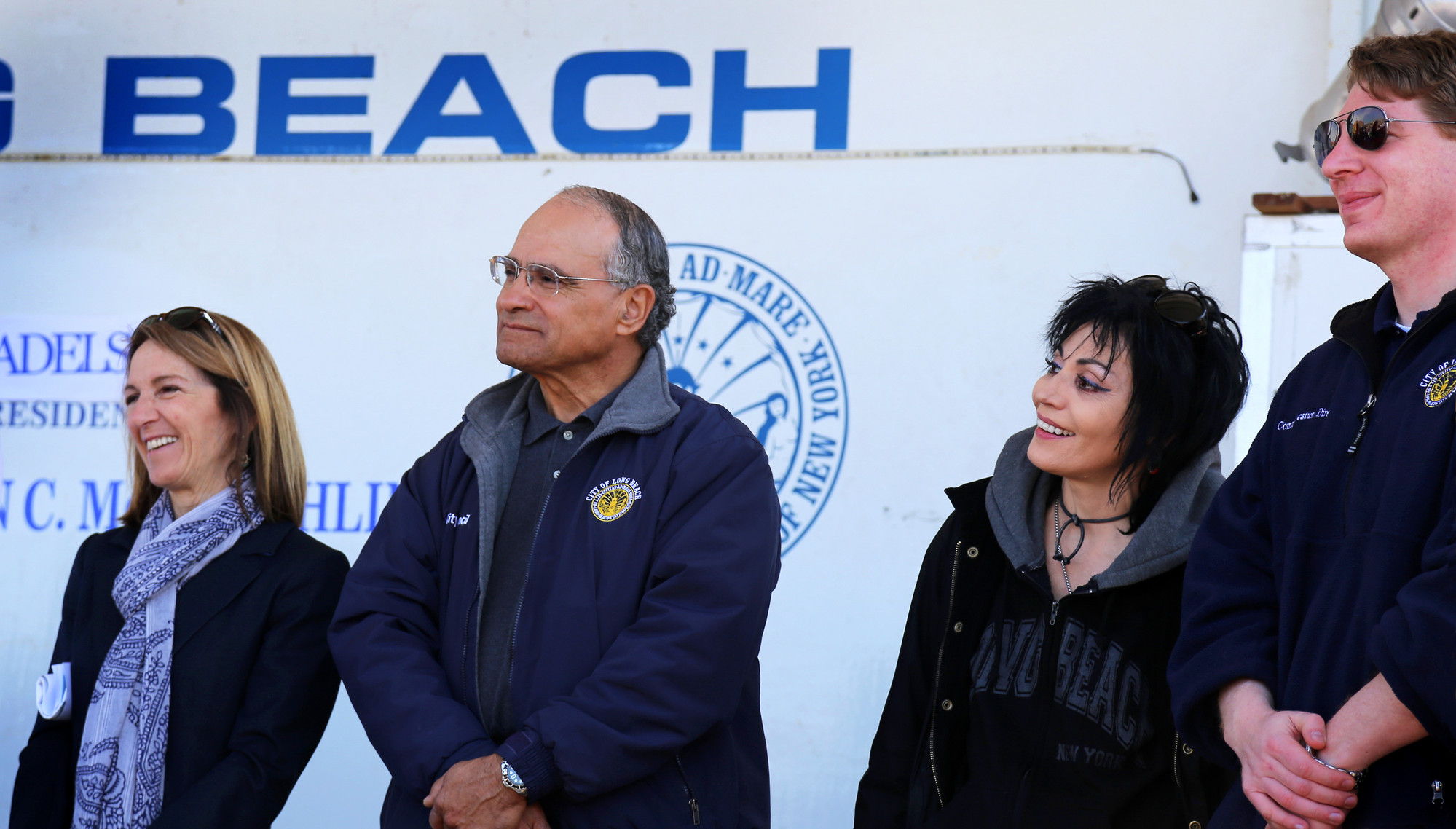 Council Vice President Fran Adelson, left, Councilman Len Torres, Joan Jett and Gordon Tepper, the city's Director of Communications.