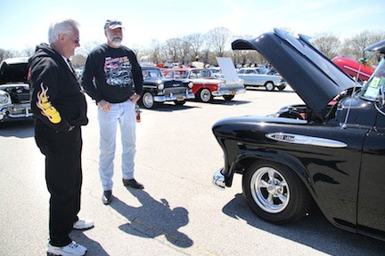 John Brewer's, right, 1957 Chevrolet 3100 pickup  was a topic of conversation at the car show.