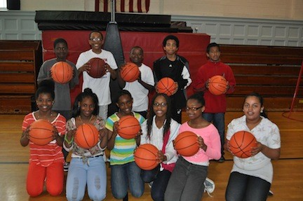 Sixth-graders at Gotham Avenue School were all smiles during Hoops for Heart.