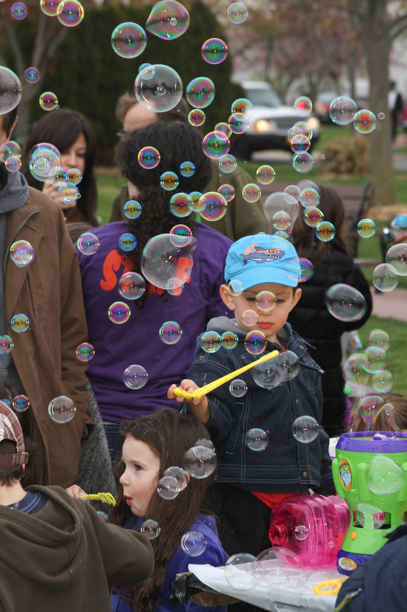 Blowing bubbles was a popular activity for the youngsters at the Lag B'Omer celebration.