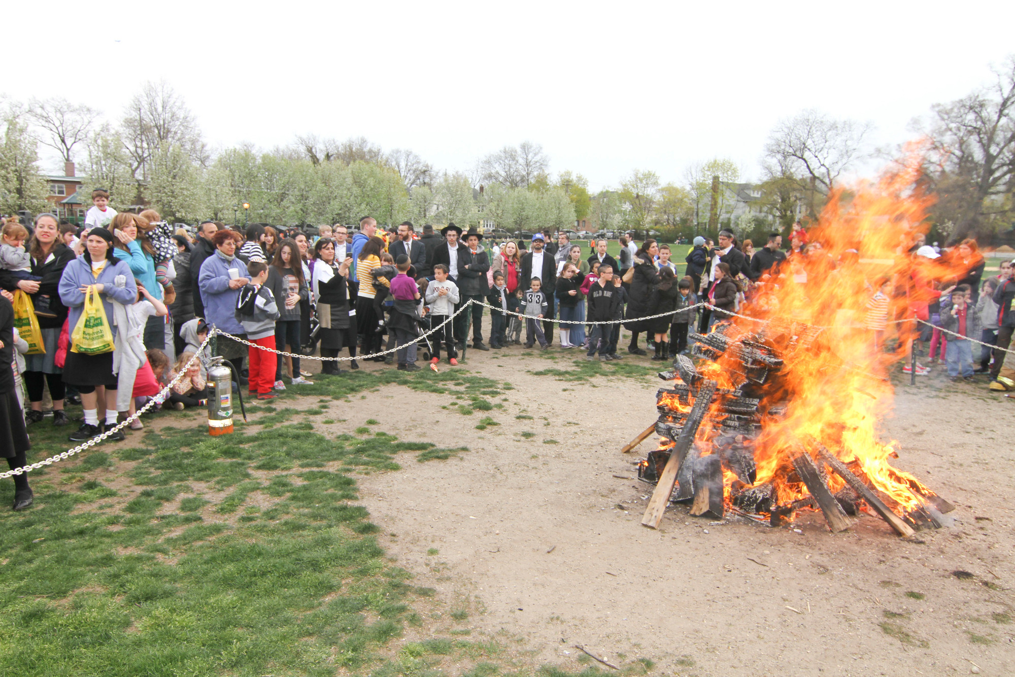 Along with games, activities and food, the bonfire is another highlight of the party in the park.