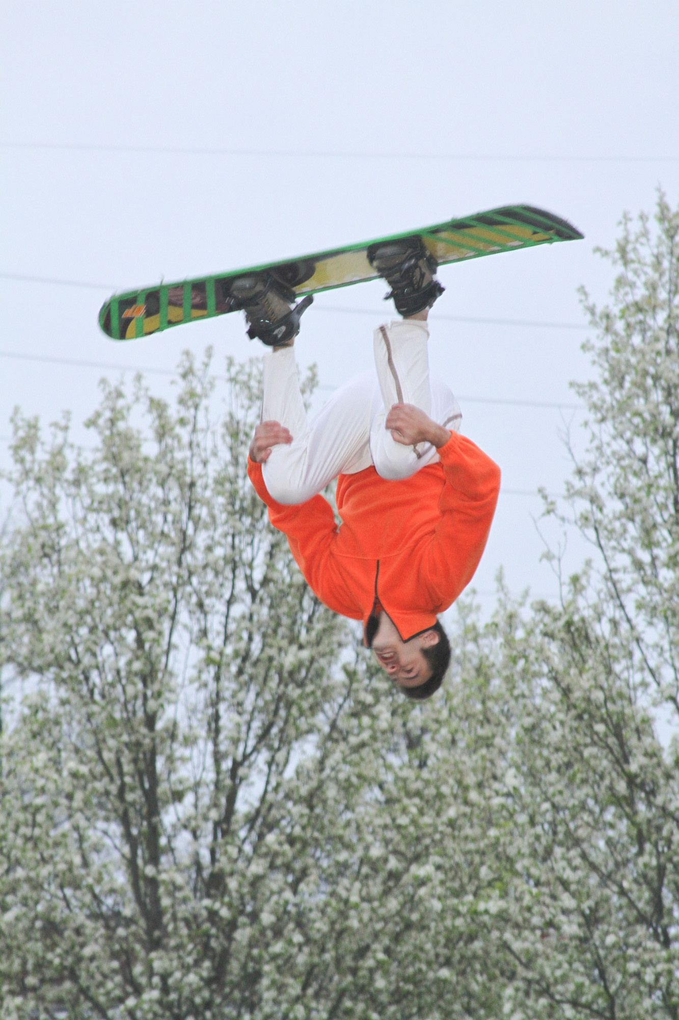 One of the Amazing Skyriders wowed the crowd with an aerial trick at Chabad's Lag B'Omer party in Cedarhurst Park.