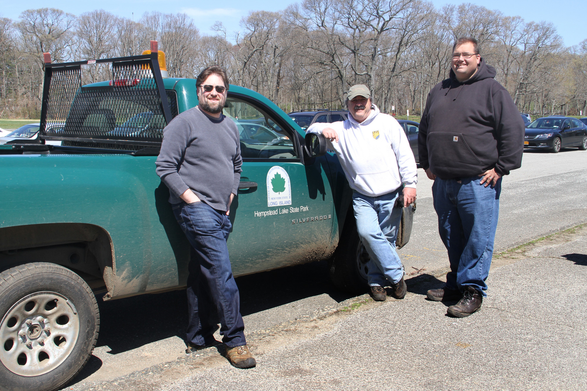 The Town of Hempstead Democratic Committee Environmental Caucus sponsored the cleanup. From left were, event organizer Michael Turi, Bob Young and park manager Bill Brown.