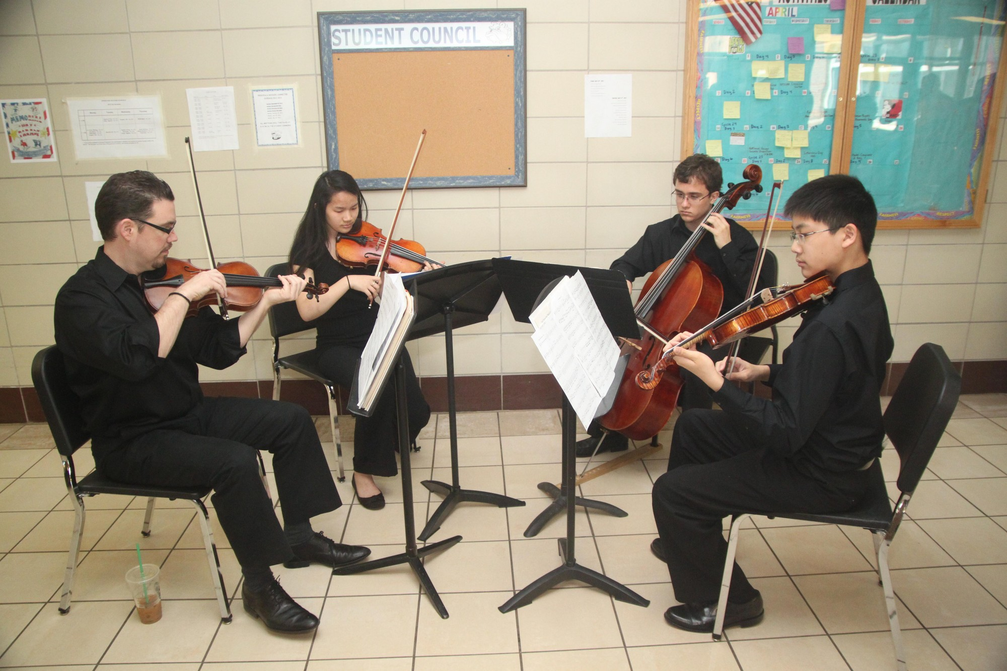 The Hewlett High School Chamber Orchestra performed while the guests and honorees arrived.