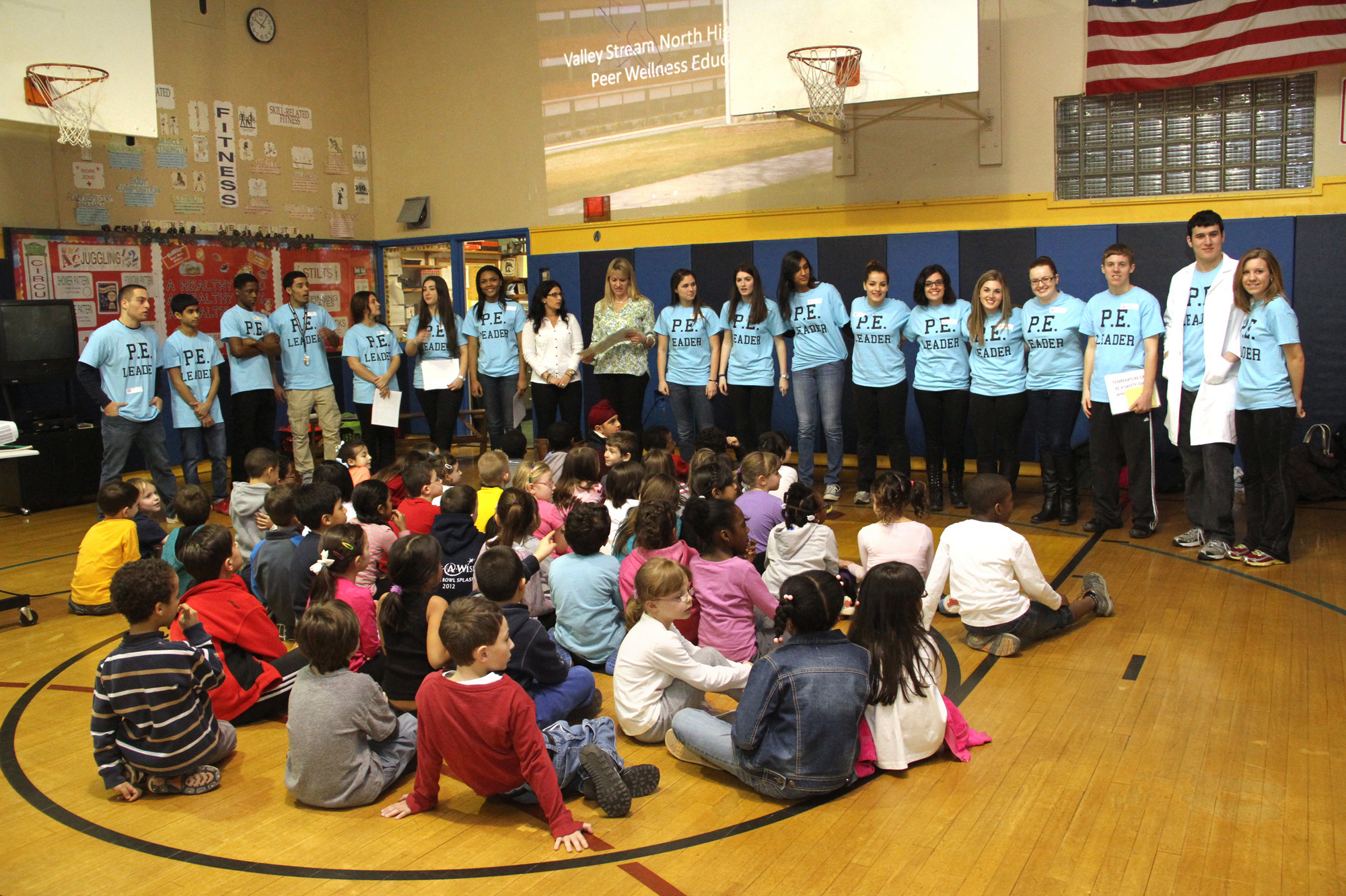 Valley Stream North High School physical education leaders taught a wellness program to the second-graders at the James A. Dever School.