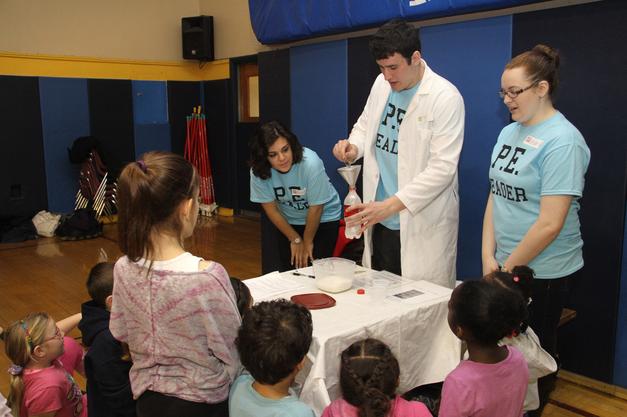 North students Ariana Ward, Tim Sarro and Jeanette Freeman demonstrated the amount of sugar in different drinks.