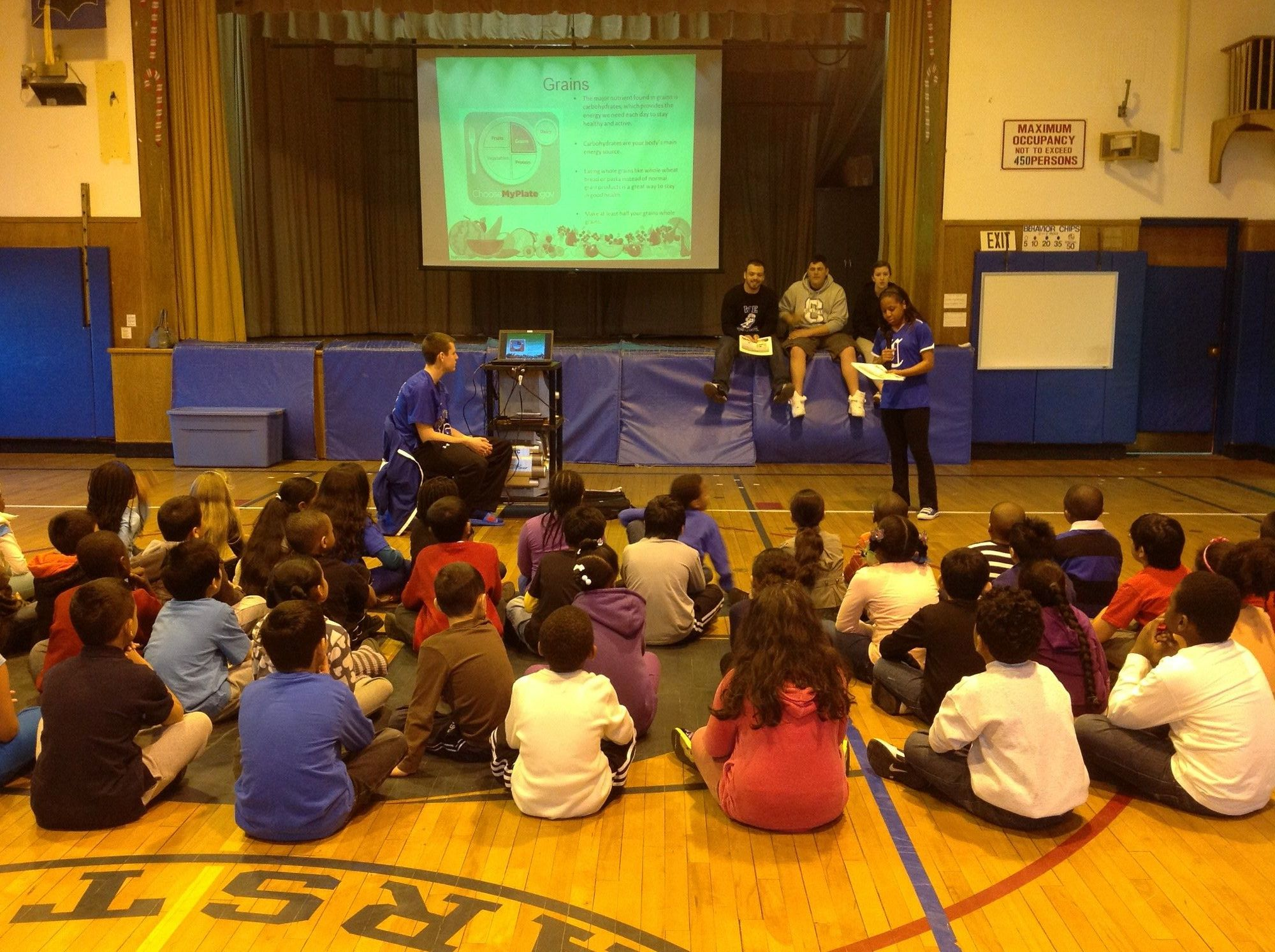 Central High School athletes visited District 30's three elementary schools to talk about health and wellness.