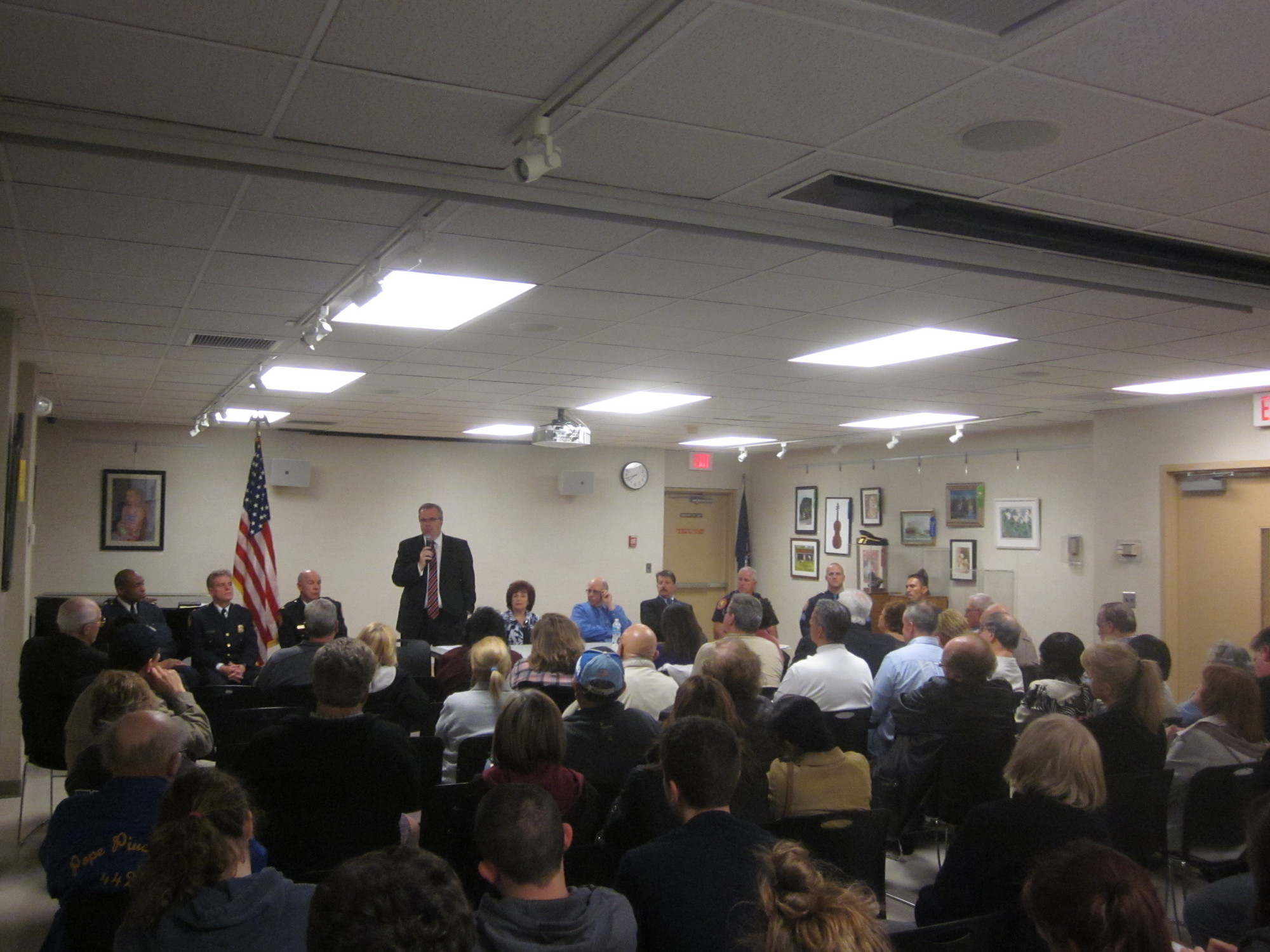 Nassau County Police First Deputy Commissioner Thomas Krumpter addressed a crowd of more than 70 during a recent Public Safety Community Forum at the East Meadow Public Library.