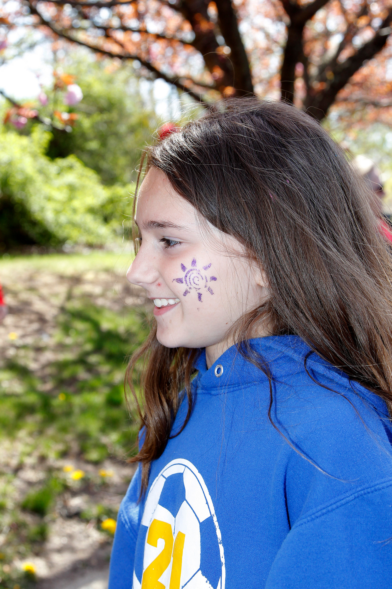 East Meadow soccer player Morgan Derwin came out to the parade in support of the Little League.