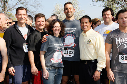 Co-founders of The Robbie Levine Foundation, Jill and Craig Levine, stood at the 5K's starting line. They were flanked by, from left, Tom Suozzi, the former Nassau County executive who is running for county executive again this year, Nassau County Legislator Dave Denenberg, of Merrick, and Hempstead Town Clerk Mark Bonilla.