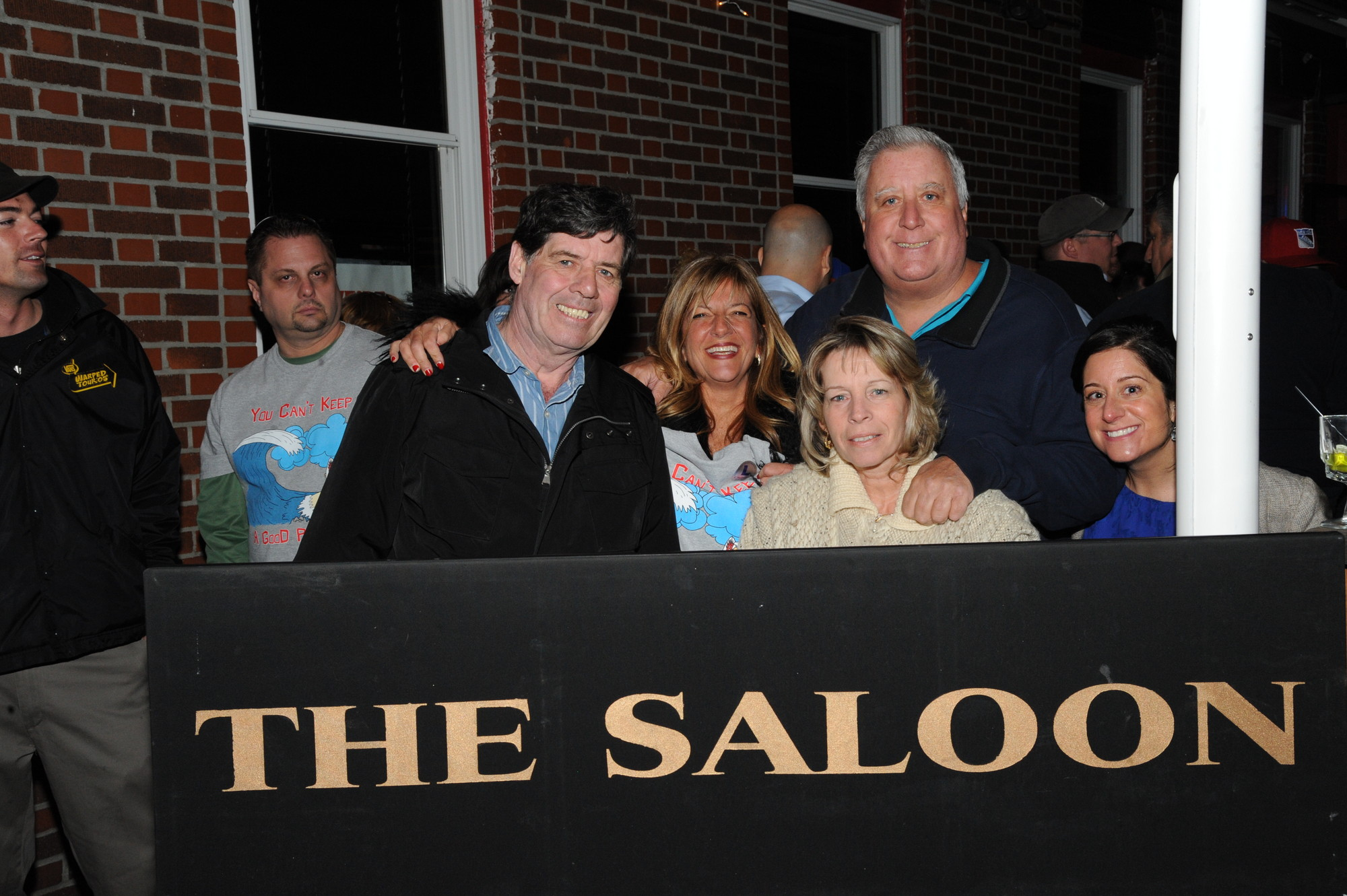 Mike Nolan, Edna Flood, Cathy and Mike Mechow, and Jen Esposito at the Saloon.