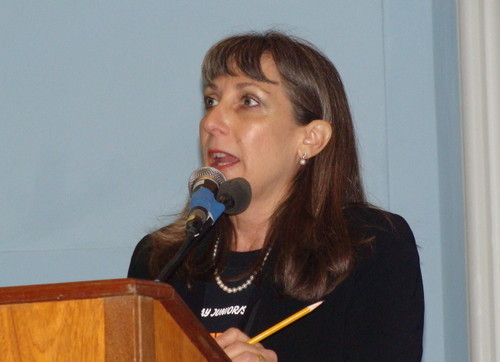 Superintendent Dr. Roseanne Melucci welcomed the students back to East Rockaway High School.