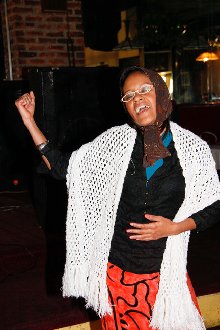 Judge Cindy Brown was animated in her performance for the audience at the Poetry Slam.