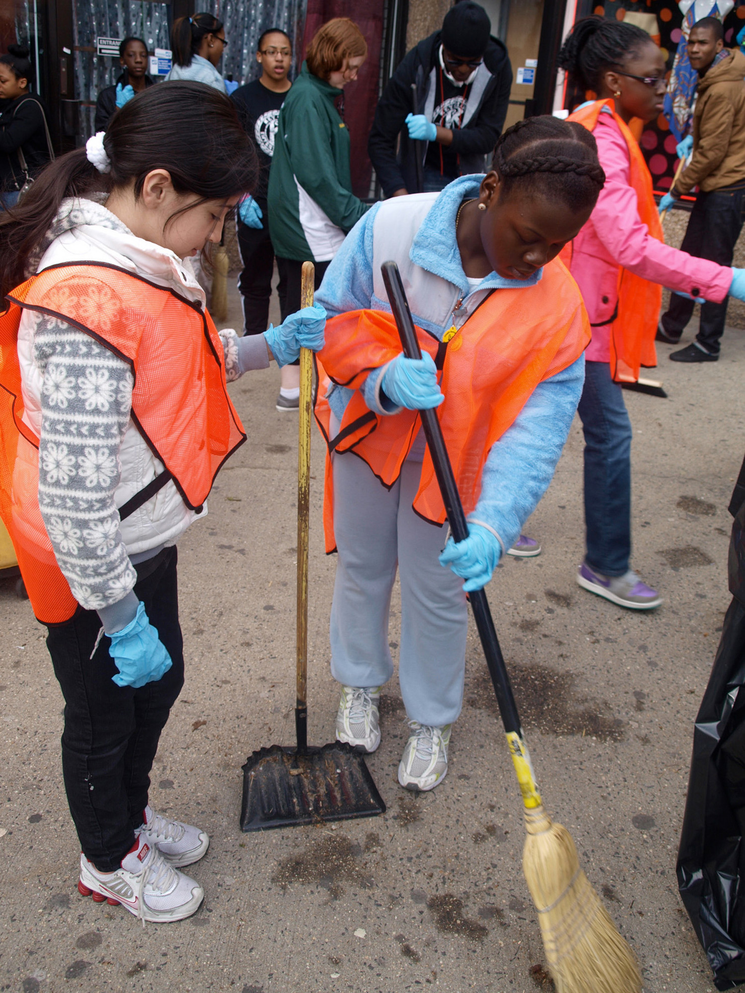 Children helped one another in their efforts on April 20.