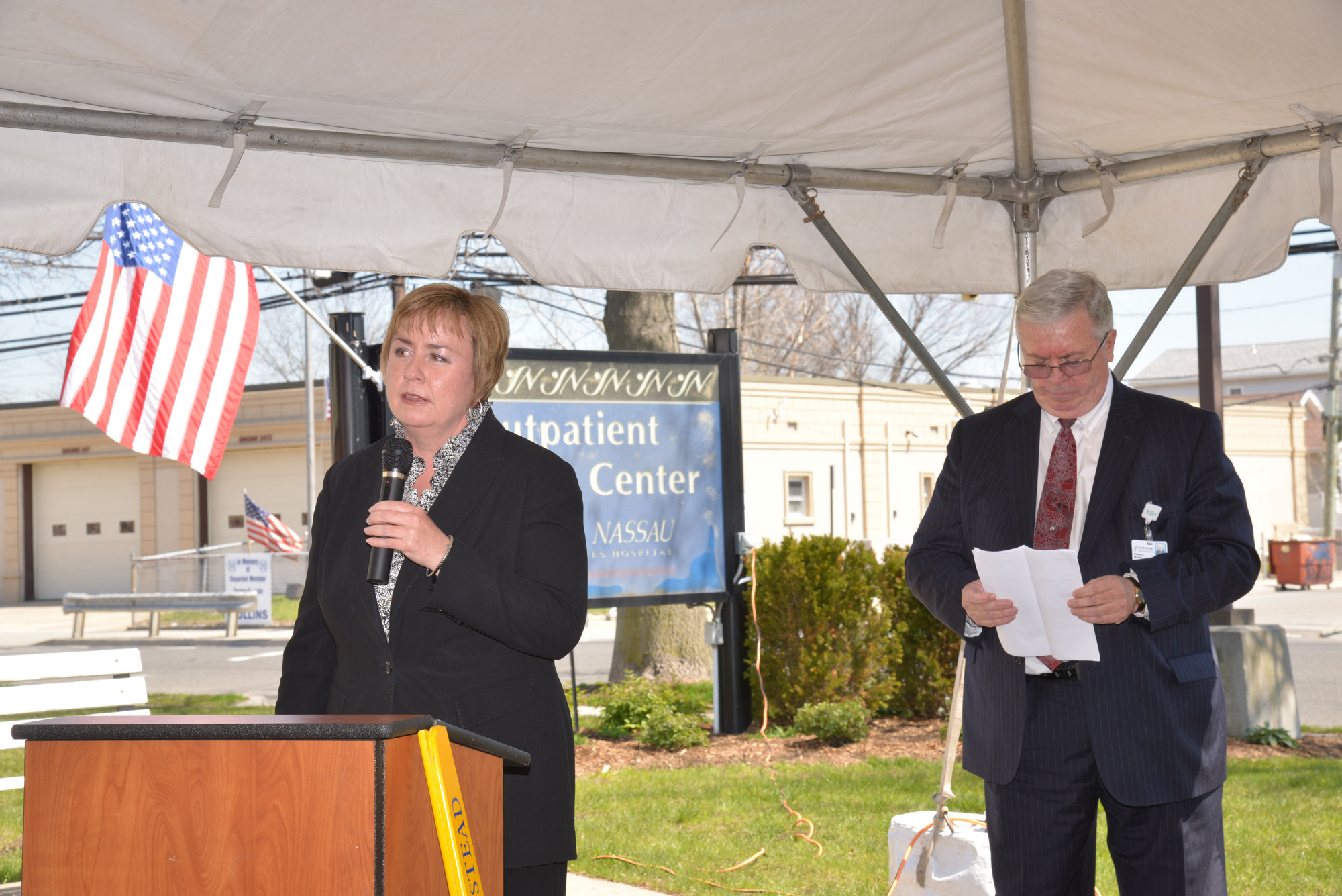 Town of Hempstead Supervisor Kate Murray spoke at the ribbon-cutting. At right was Richard Murphy, the hospital's CEO.