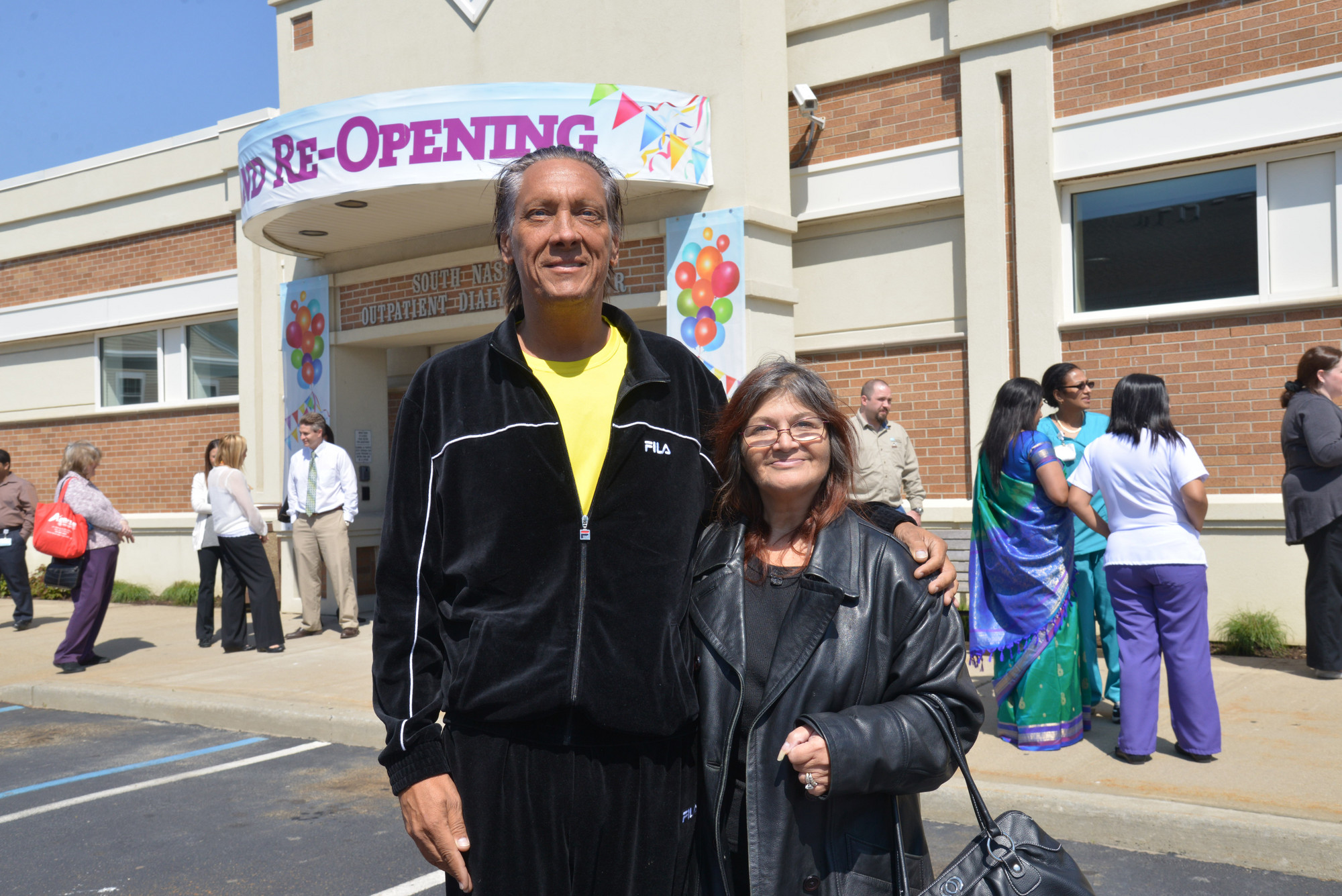 Oceanside resident Jonathan Braff and his wife, Mina, came to the reopening of the South Nassau Communities Hospital Outpatient Dialysis Center to celebrate �coming home.� Jonathan has been a patient at the center for five years.