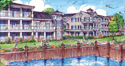 Artist's rendition of the new homes that are slated for the former Cibro oil storage and distribution facility in Island Park.