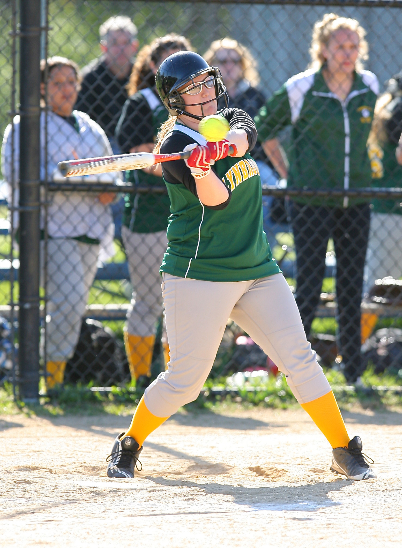 Lynbrook's Erin Connors connects for a hit during the team's loss at Malverne on May 1.