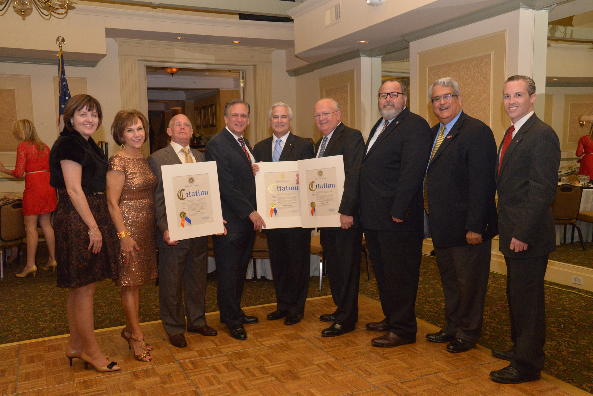 Organizer Jeanne Mulry, left, organizer Joan MacNaughton, honoree Tedd Fass, Nassau County Executive Ed Mangano, honoree Don Steinert, honoree Robert Klein, Rockville Centre Mayor Francis Murray, Town of Hempstead Councilman Anthony Santino and Village Trustee Kevin Glynn all attended the evening.