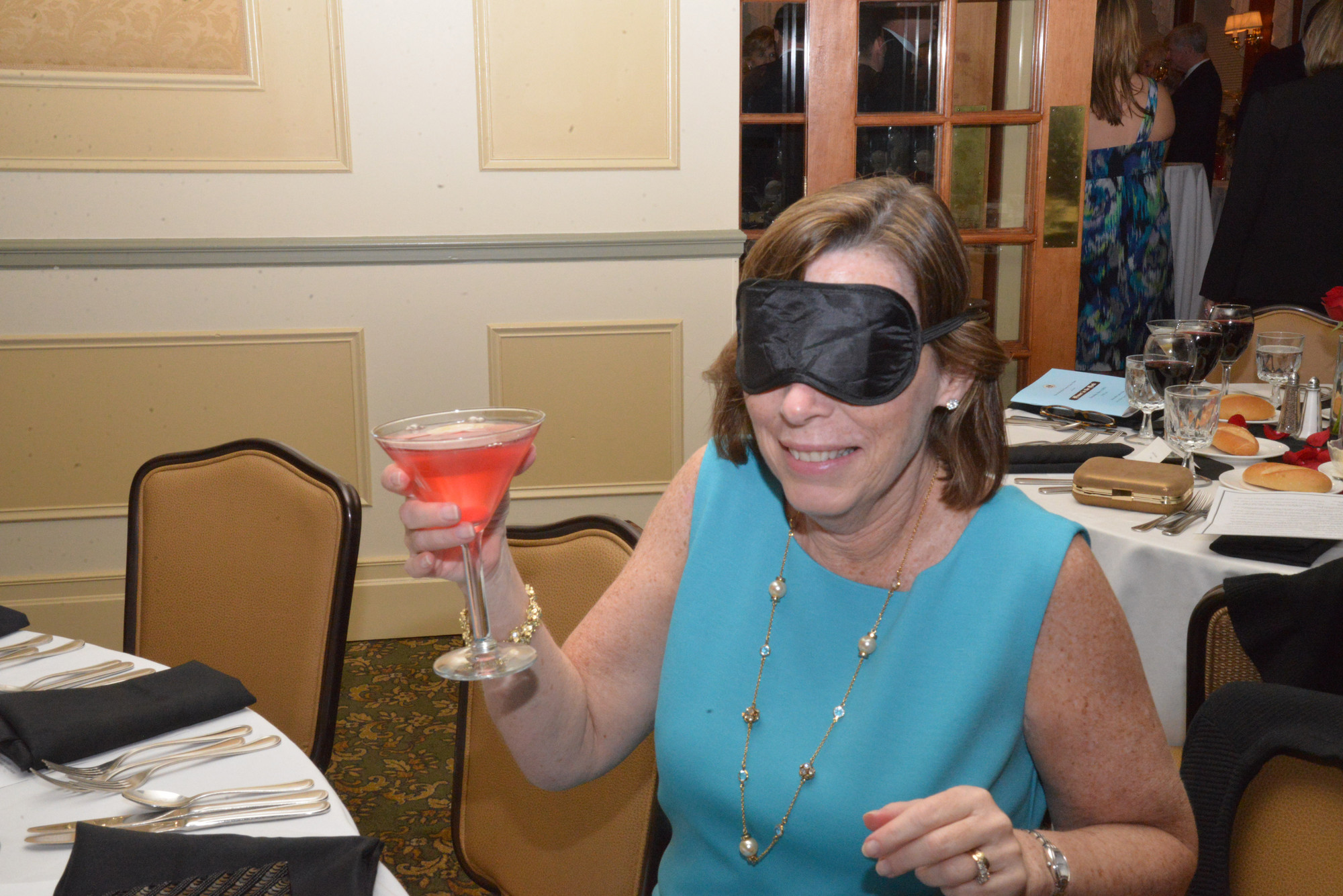 Eileen Alexanderson dined in the dark to learn about visual impairment.