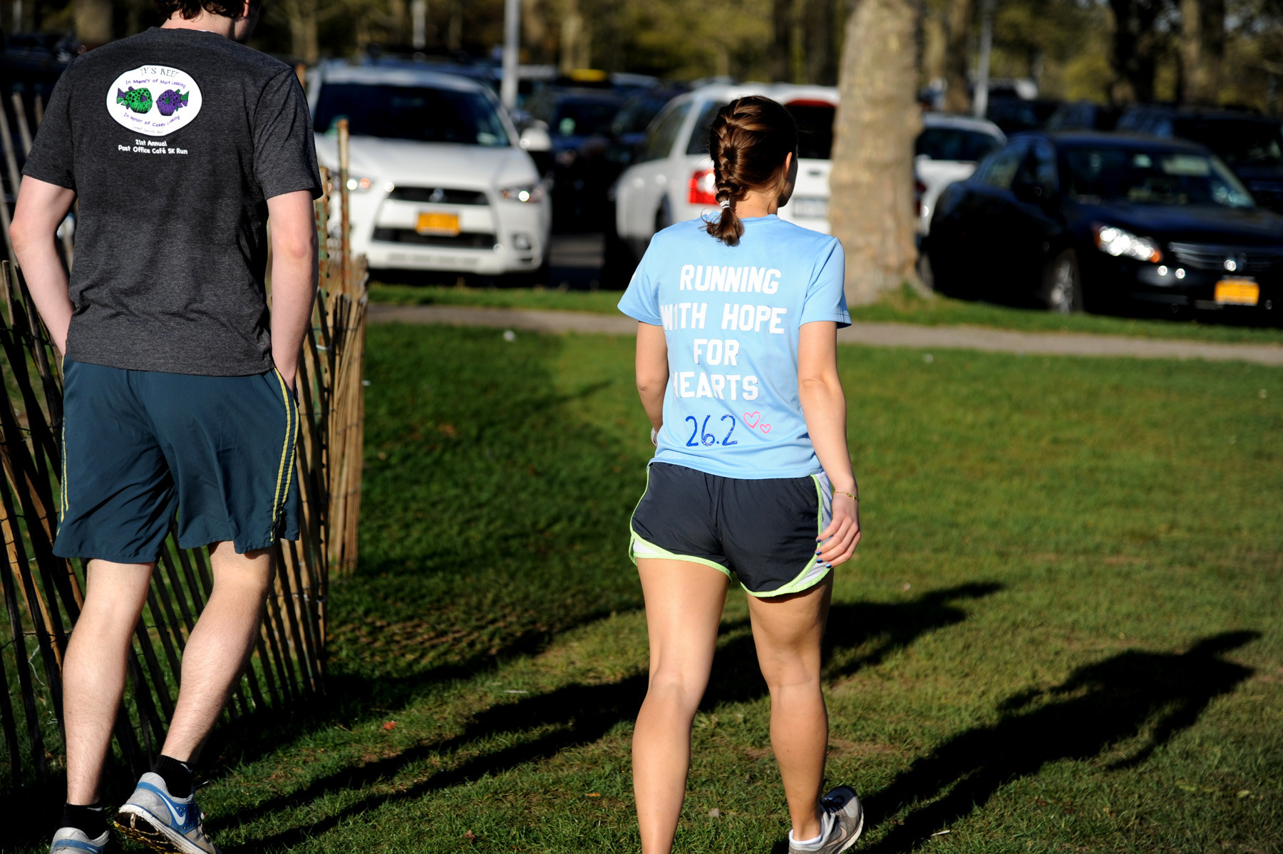 Many of the runners wore messages on their clothing, a means of tribute to the Boston victims.