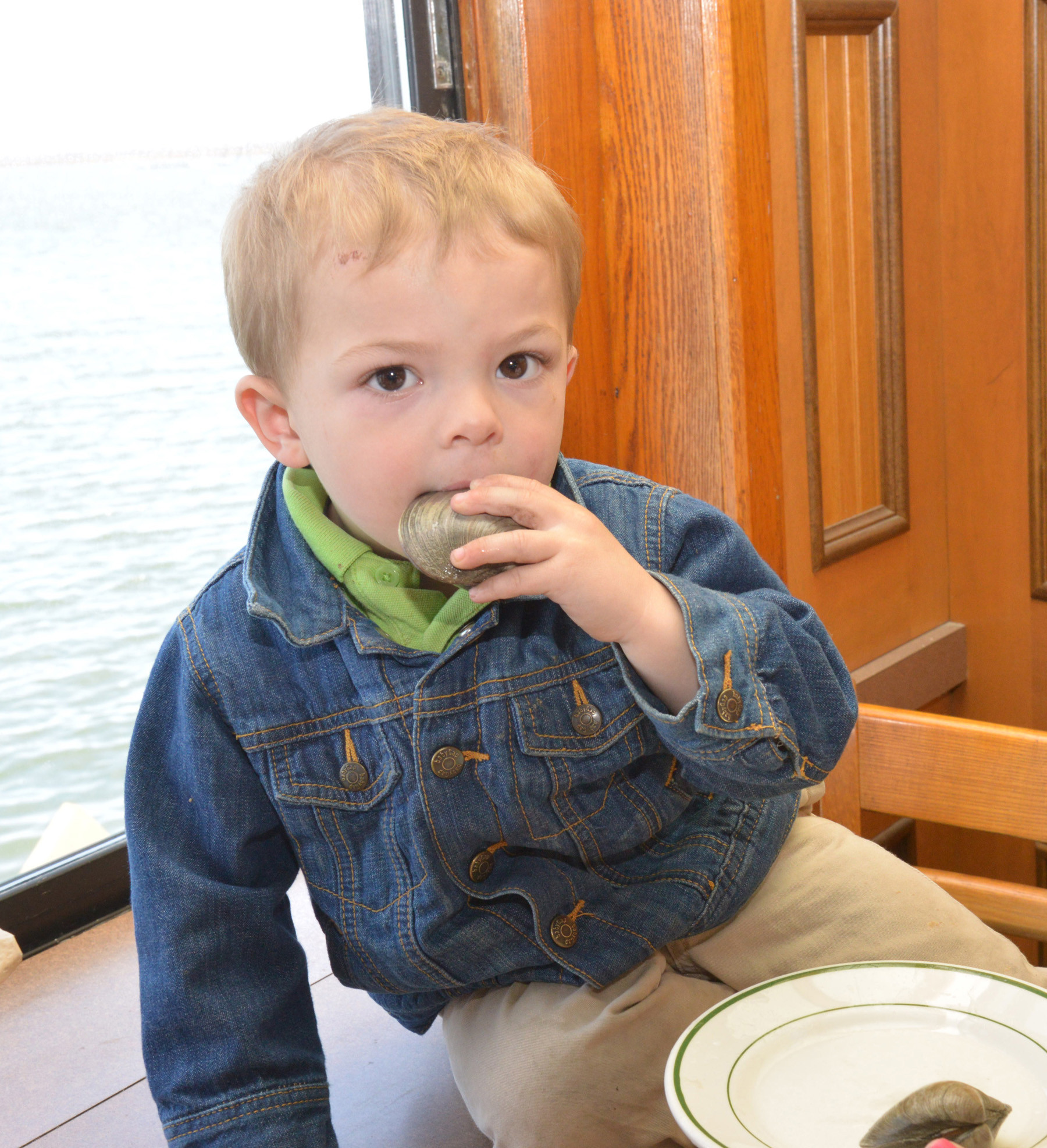 Chris Vaccaro, 28 months, enjoyed a clam at the reopening.