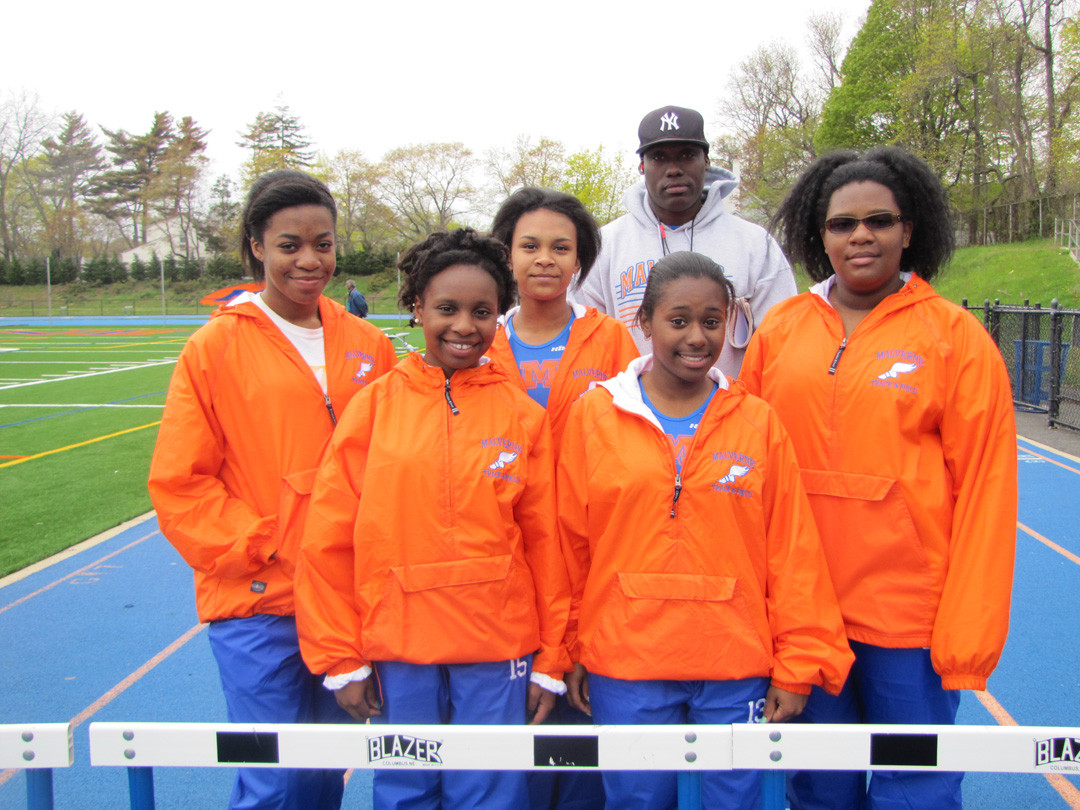 The Malverne High School's girl's track team at the school's new athletic complex on Ocean Avenue.