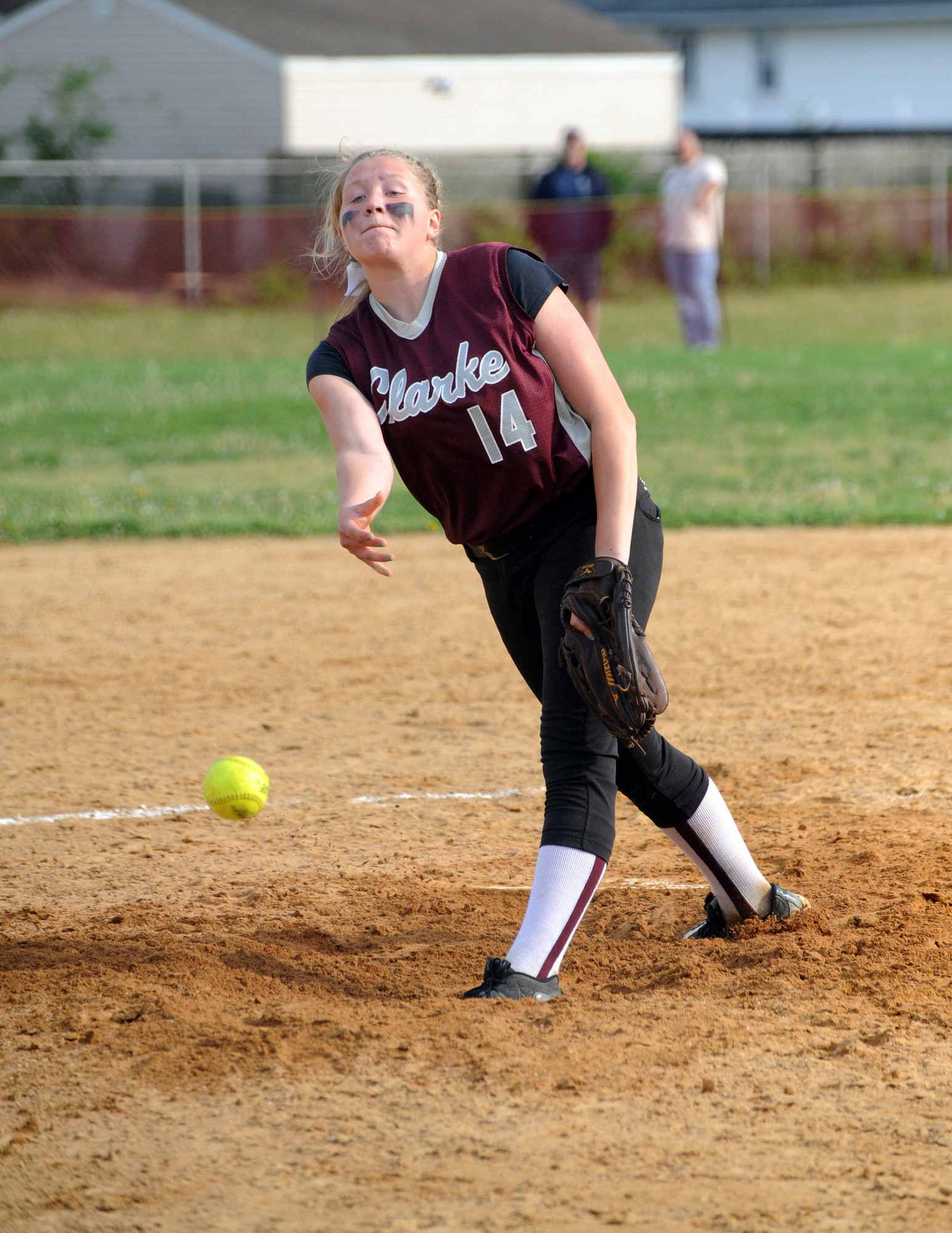 Pitcher Sarah Cornell tossed a two-hitter and struck out 16 in Clarke's 3-0 win over Floral Park in a Nassau Class A playoff game on May 10.
