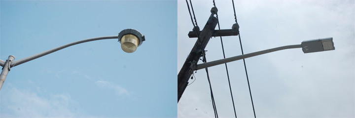The village is looking to replace all of its existing high-pressure sodium bulb street lights with LED lights, like this one recently installed on Valley Stream Boulevard.