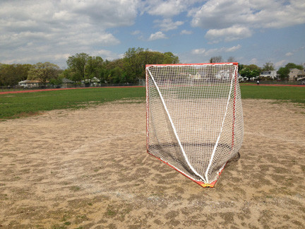 Many parts of the Mepham football field have turned to dirt, including around the lacrosse goals.