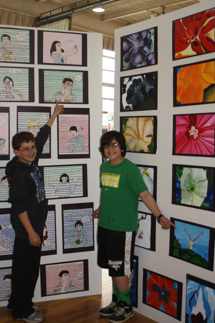 Seventh-graders Walter Paskoff and Paul Traumiller were both proud to present pieces in the Lynbrook South Middle School art show.
