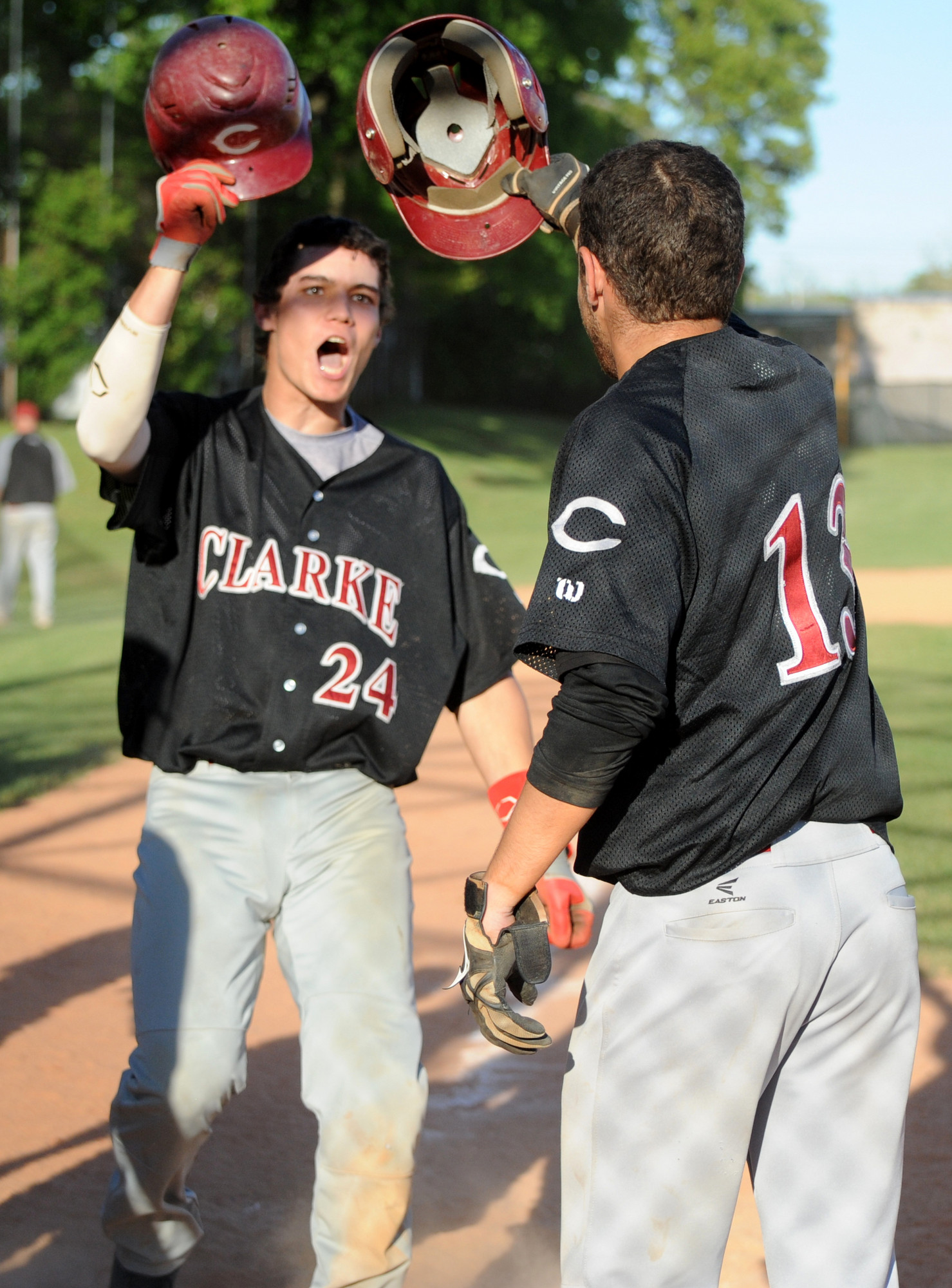 Clarke's John Fogarty, left, celebrated with Jayson Garcia after his second homer in Game 2 of last week's Class A playoff series win over Valley Stream North.