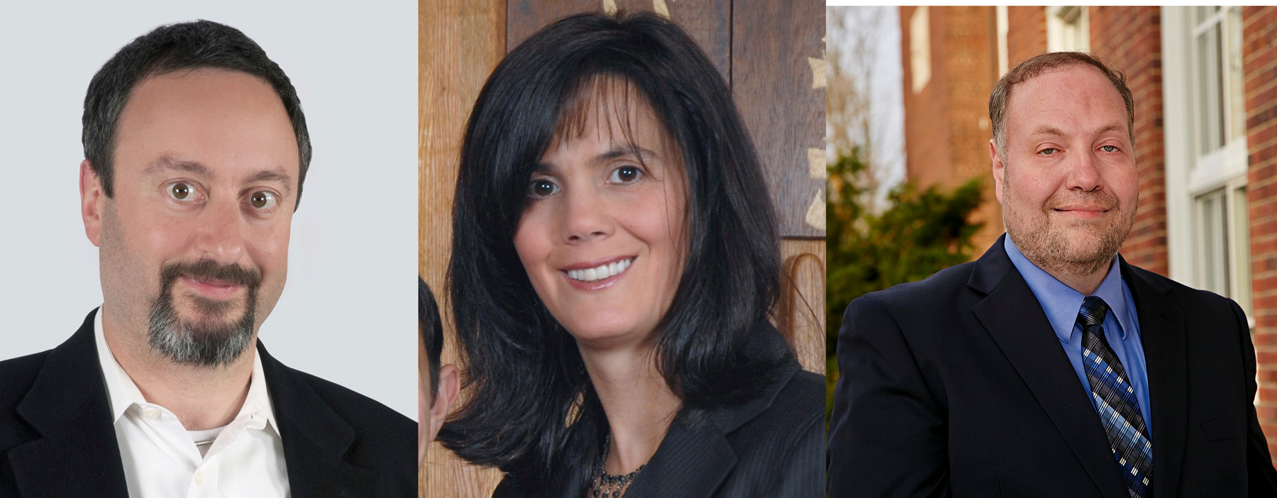 A recount of votes in one of the three Lawrence Board of Education races now has Tova Plaut, center, in the lead over Jesse Lunin-Pack, left. Dov Herman, right, finished third with 840 votes.