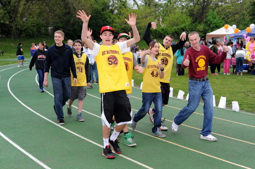 St. raymond�s students and friends showed their spirit and support on the track.