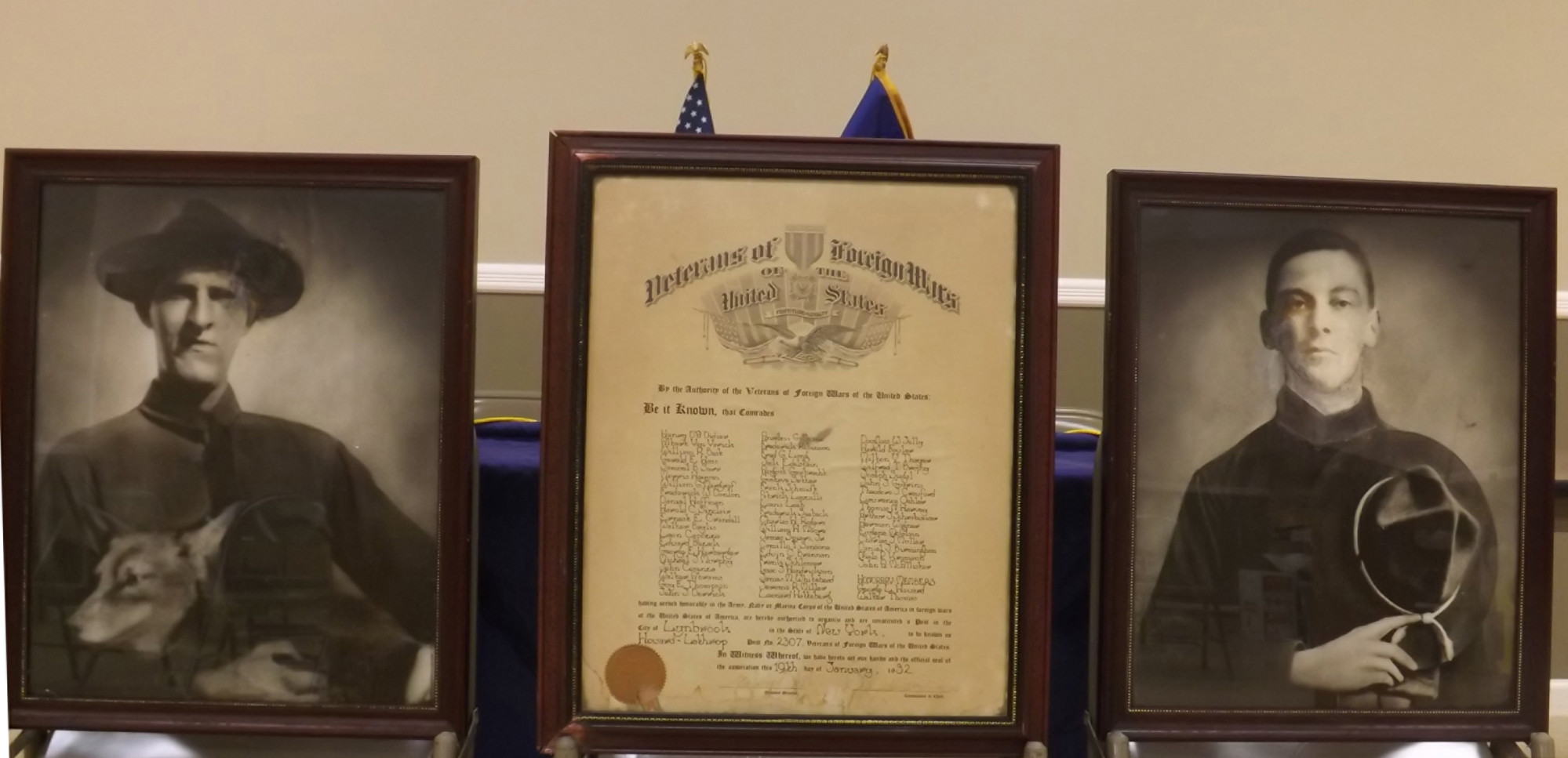 The photos of Frank Howard and Howard Lathrop were saved during a 2011 fire at the Howard-Lathrop Post 2307 VFW in Lynbrook. The post, which was established in 1932, was named in their honor. They were the first two men from Lynbrook to be killed in action during World War I.