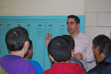 Number Five School fourth-graders were led on a tour of Lawrence Middle School by guidance counselor Michael Divino, who explained how students can best use their lockers.