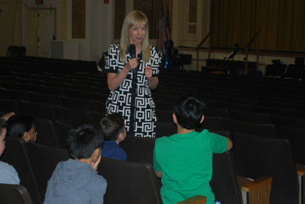 Middle school orientation included a question and answer session. Assistant Principal Rina Beach responded to a Number Five School student's query.