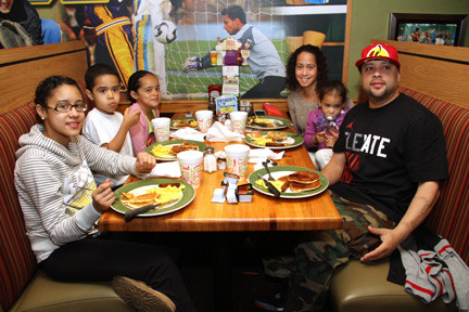 The Fernandez family bonded over their morning meal at the Flapjack Breakfast.