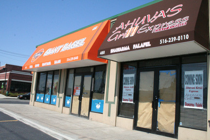 The former Bagel Island and Pizza, located at 480 Rockaway Turnpike in Lawrence, has been closed since Sandy. Giant Bagel and Ahuva's Grill Express will be opening soon at the same location.