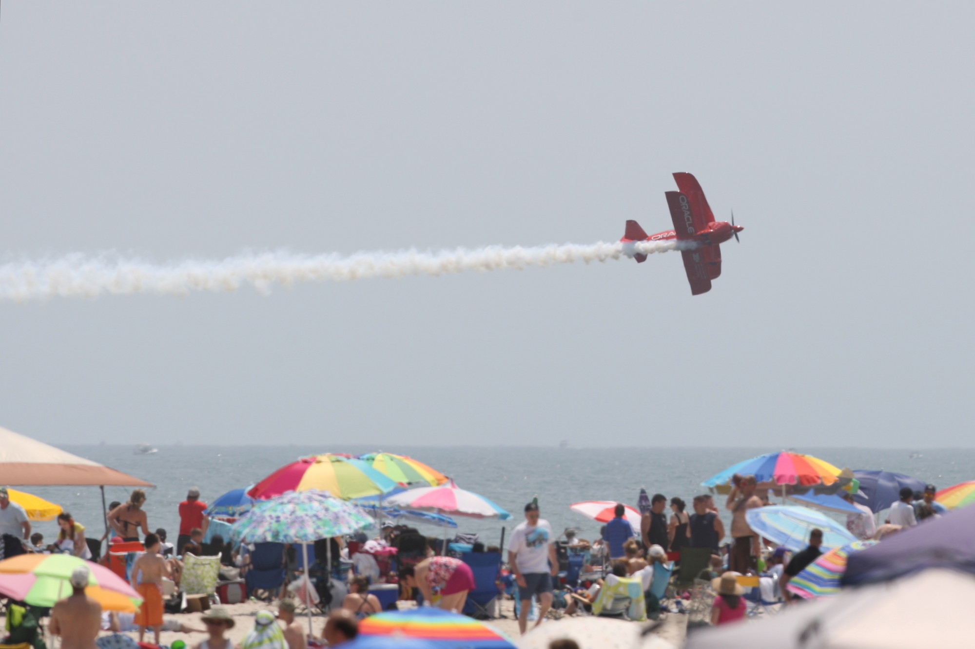 The Geico Sktypers soar over the Jones Beach shoreline as they type giant messages and perform a low level precision formation during the annual Bethpage Air Show over Memorial Day weekend. The Royal Canadian Air Force headlines this year's event.