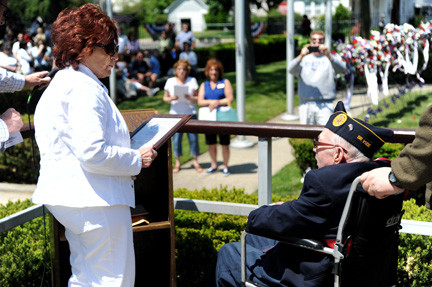 County Legislator Norma Gonsalves honored Grand Marshal Bernard Hein, a member of the Jewish War Veterans Post 709.