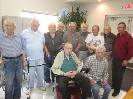 More than a dozen veterans live in the East Meadow Senior Center on Front Street, including, from top left, Anthony Nohfouz, Vincent Scelsi, John Errico, Carmine Cella, John Mallico, Tom Nicoletti, Ira Meltzer, Alfonso Caggiano and Al Willougby. On the bottom row sat Cliff Way and Carmine Peranzo.